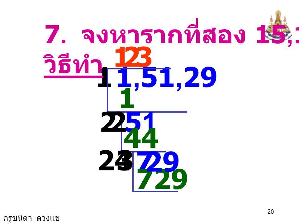 7. จงหารากที่สอง 15,129 วิธีทำ 1 2 3 1 1,51,29 1 2 2 51 44 24 3 7 29 729