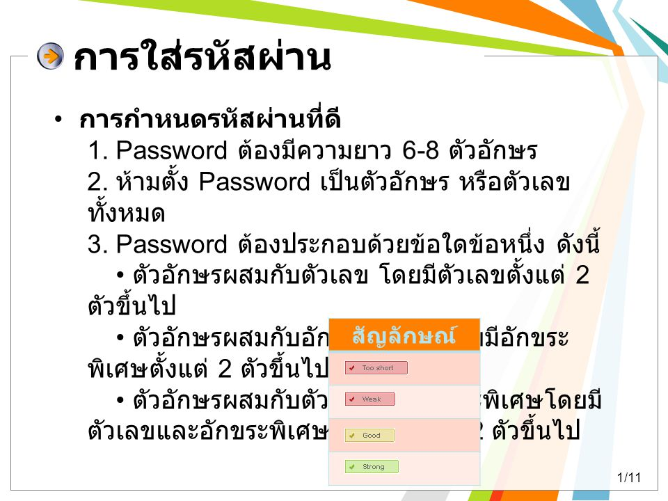 การใส่รหัสผ่าน การกำหนดรหัสผ่านที่ดี