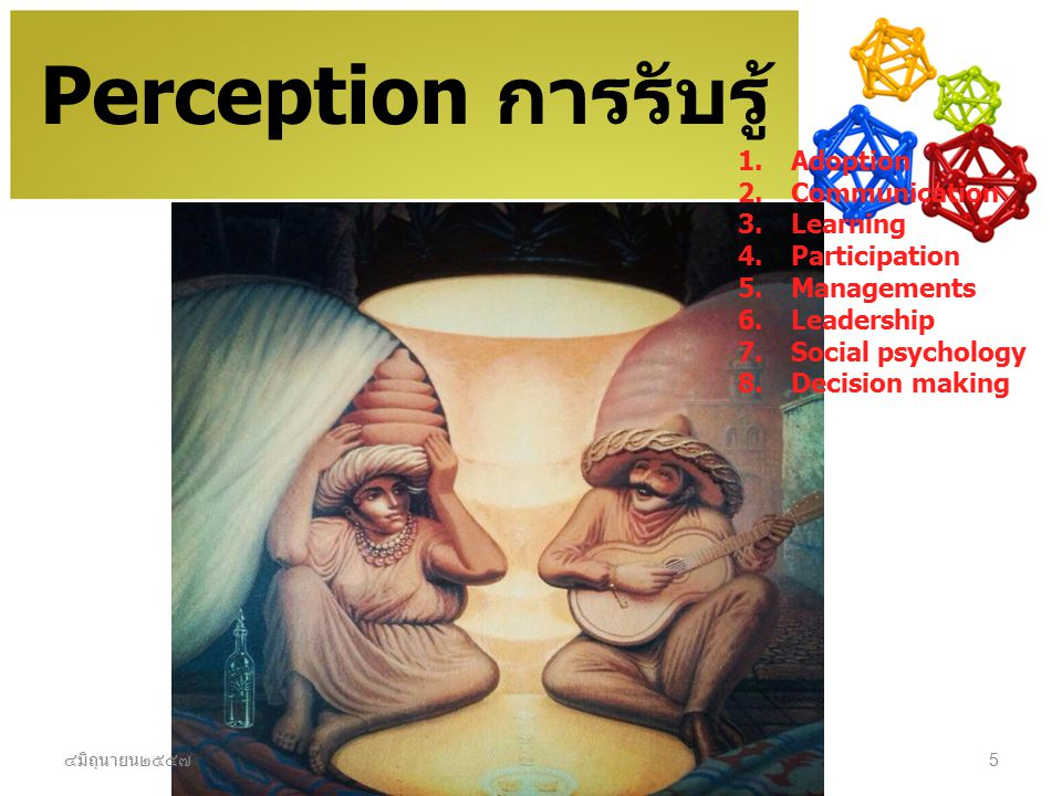 Perception การรับรู้ Adoption Communication Learning Participation