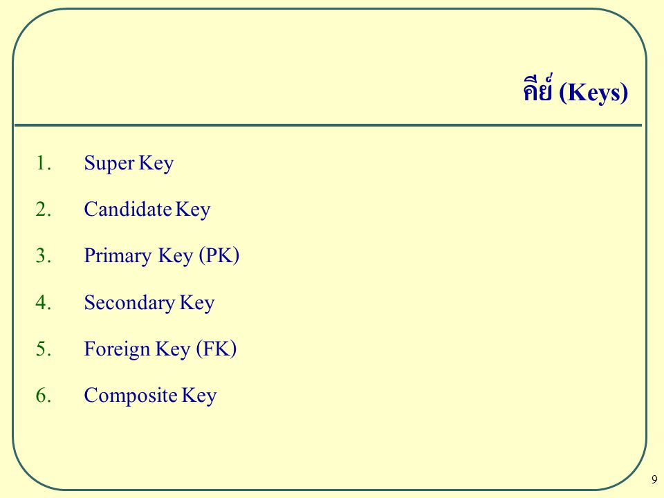 คีย์ (Keys) Super Key Candidate Key Primary Key (PK) Secondary Key