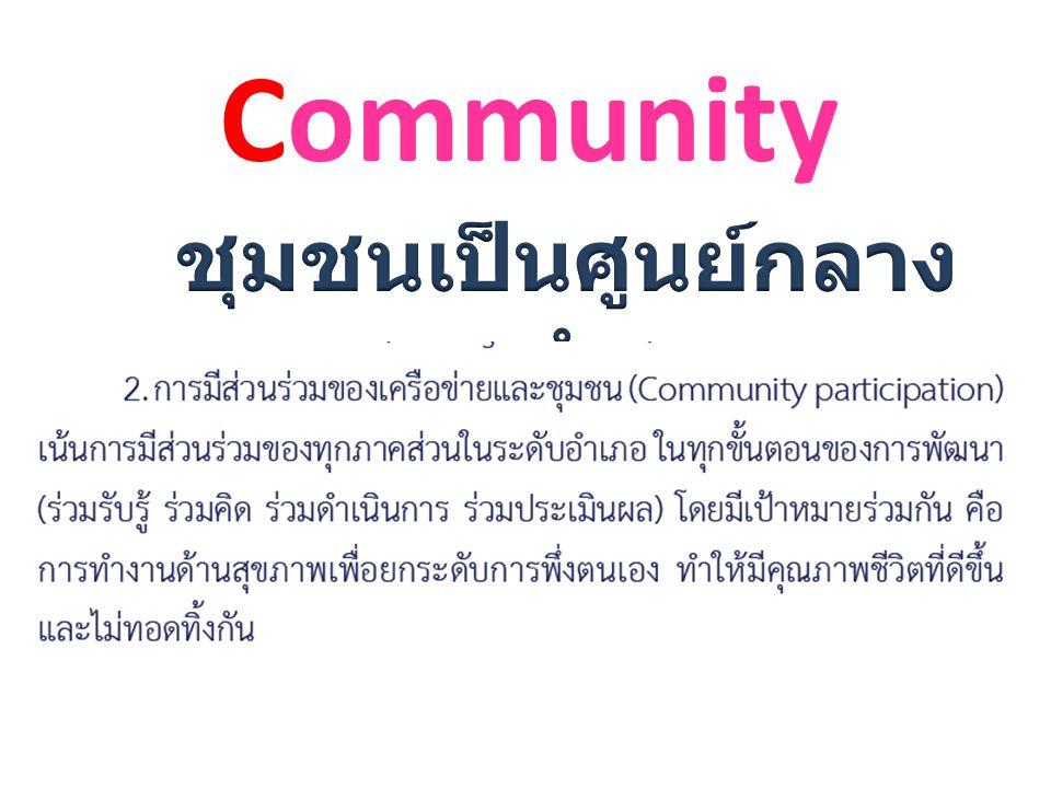 ชุมชนเป็นศูนย์กลางการทำงาน