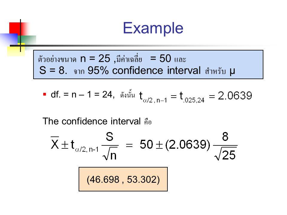 Example ตัวอย่างขนาด n = 25 ,มีค่าเฉลี่ย = 50 และ