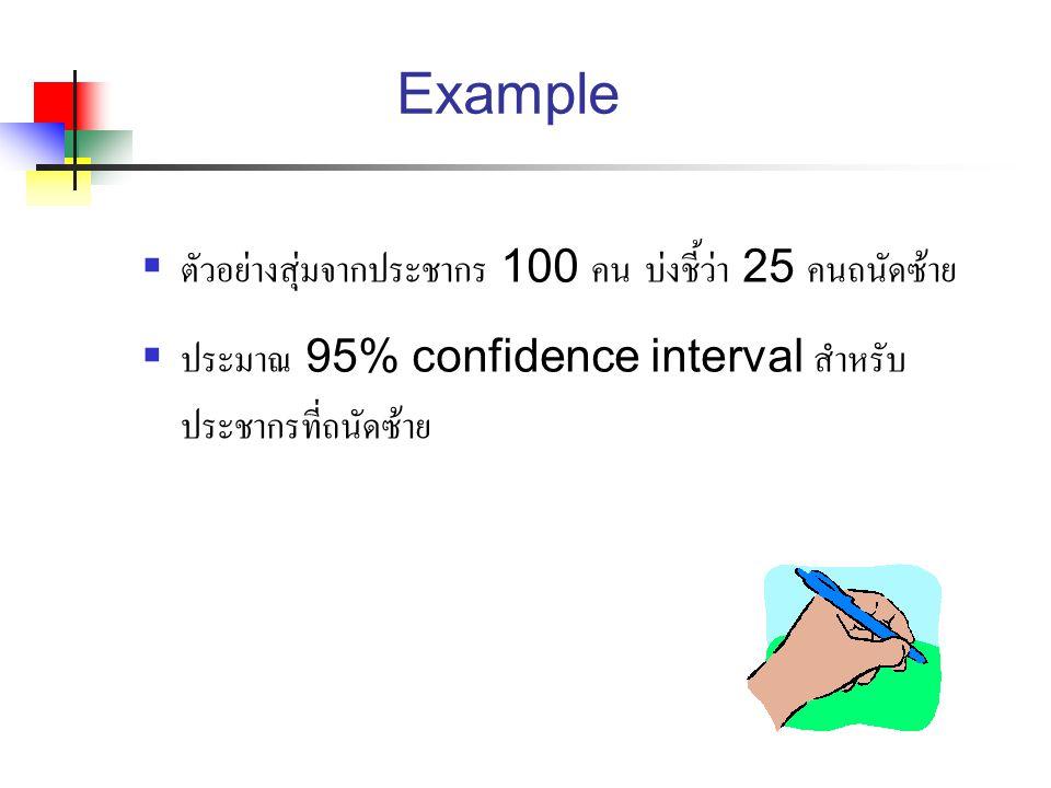 Example ตัวอย่างสุ่มจากประชากร 100 คน บ่งชี้ว่า 25 คนถนัดซ้าย
