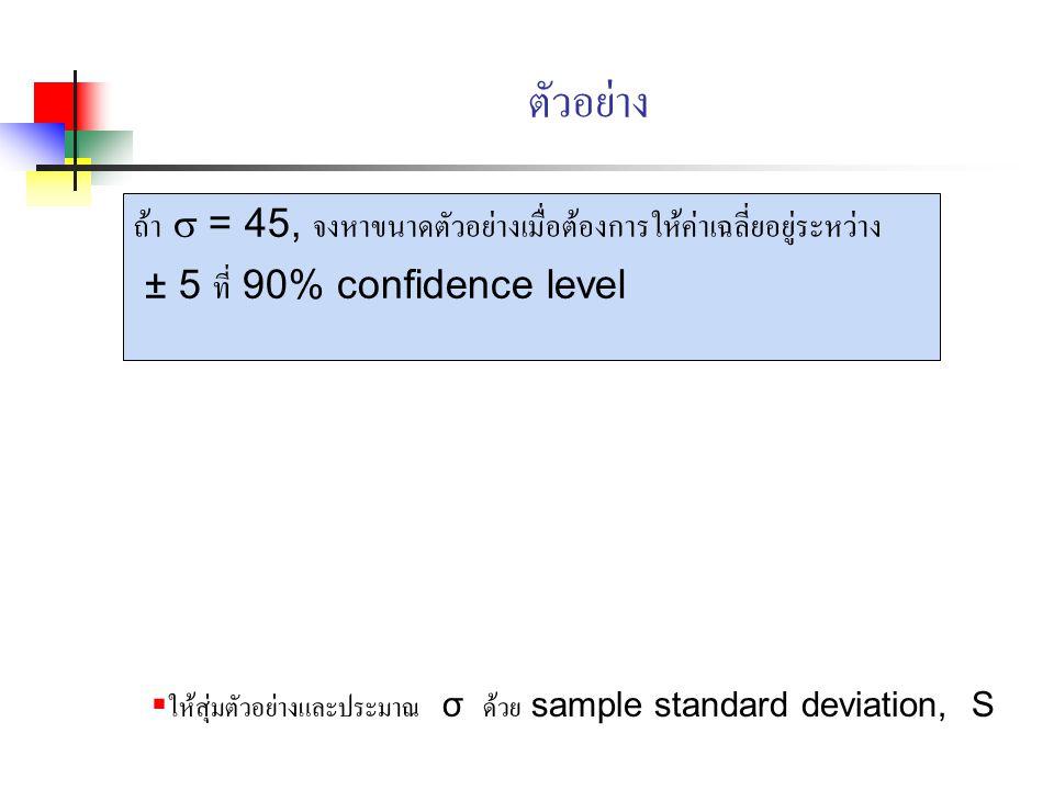 ตัวอย่าง ถ้า  = 45, จงหาขนาดตัวอย่างเมื่อต้องการให้ค่าเฉลี่ยอยู่ระหว่าง. ± 5 ที่ 90% confidence level.