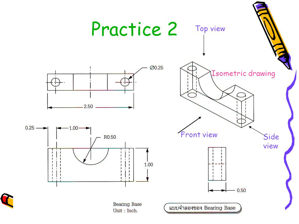 Practice 2 Top view Isometric drawing Front view Side view