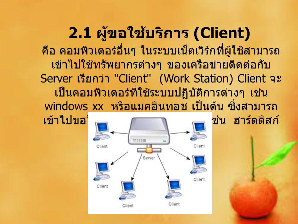 2.1 ผู้ขอใช้บริการ (Client)