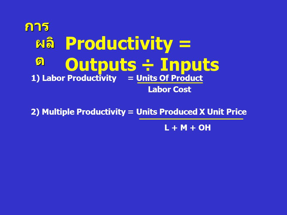 Productivity = Outputs ÷ Inputs