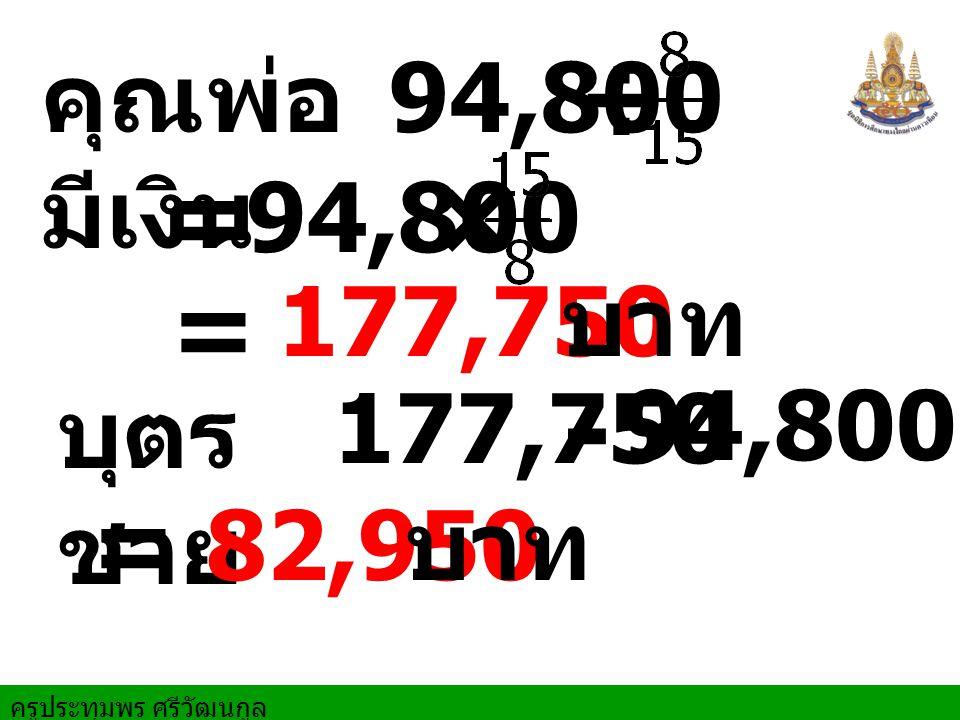 - ÷ = × = = คุณพ่อมีเงิน 94,800 94,800 177,750 บาท บุตรชาย 177,750