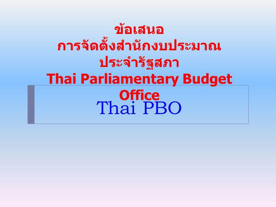 ข้อเสนอ การจัดตั้งสำนักงบประมาณประจำรัฐสภา Thai Parliamentary Budget Office
