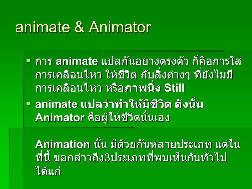 animate & Animator การ animate แปลกันอย่างตรงตัว ก็คือการใส่การเคลื่อนไหว ให้ชีวิต กับสิ่งต่างๆ ที่ยังไม่มีการเคลื่อนไหว หรือภาพนิ่ง Still.