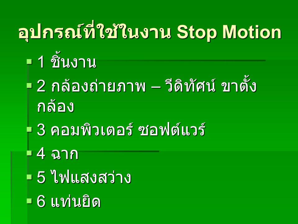 อุปกรณ์ที่ใช้ในงาน Stop Motion