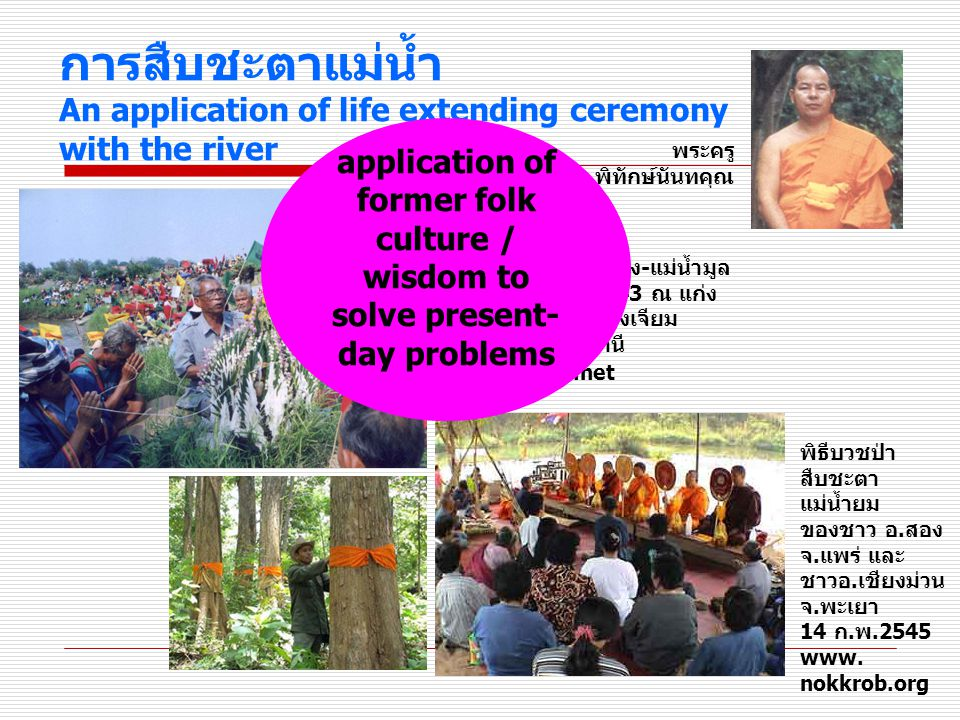 การสืบชะตาแม่น้ำ An application of life extending ceremony with the river