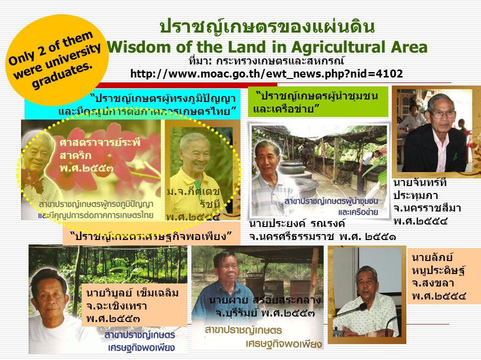 ปราชญ์เกษตรของแผ่นดิน Wisdom of the Land in Agricultural Area