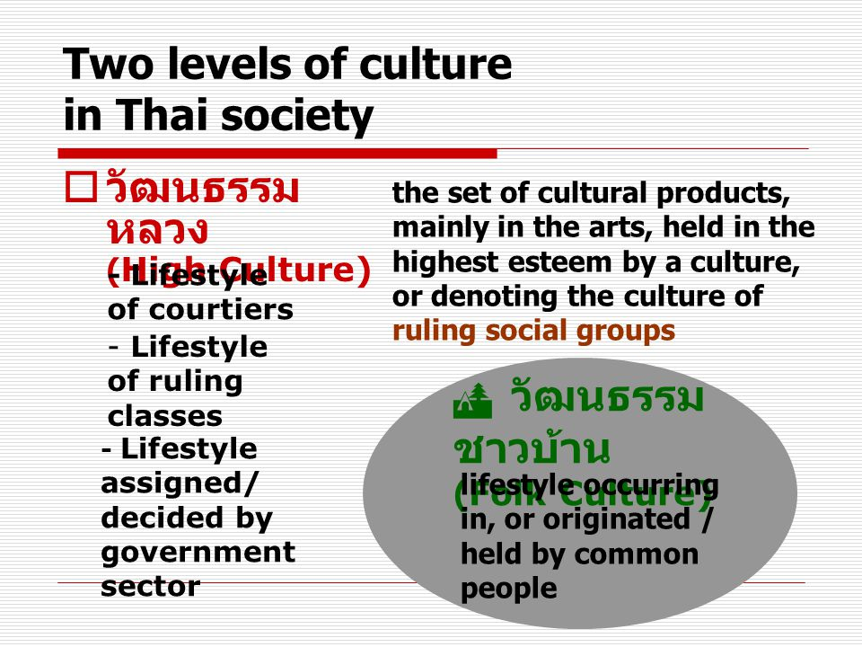 Two levels of culture in Thai society