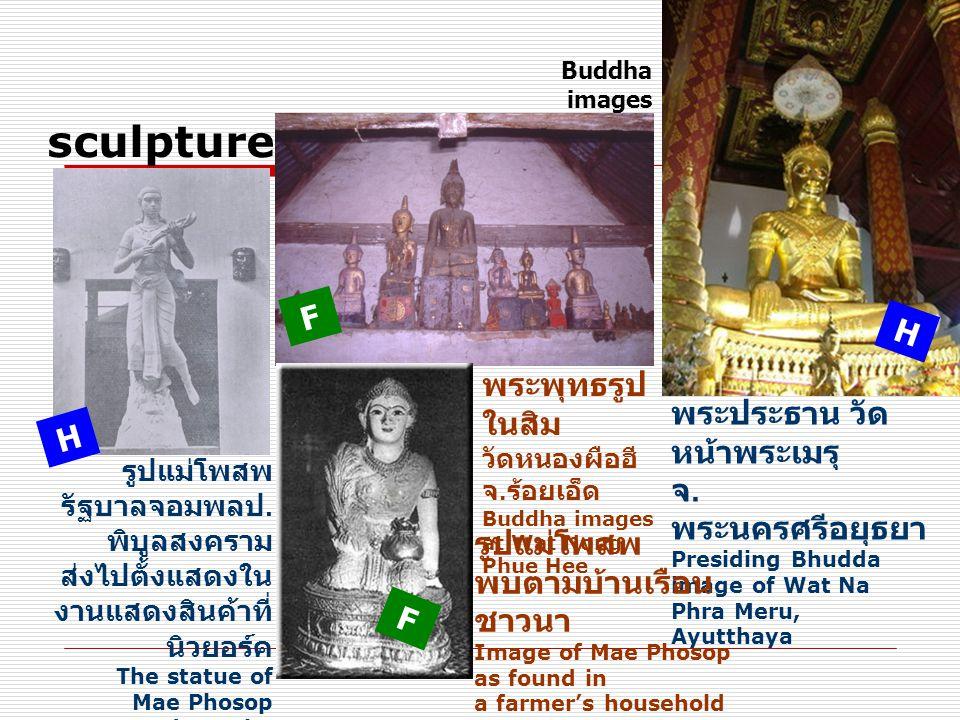 Buddha images sculpture. F. H. พระพุทธรูปในสิม วัดหนองผือฮี จ.ร้อยเอ็ดBuddha images at Wat Nong Phue Hee.