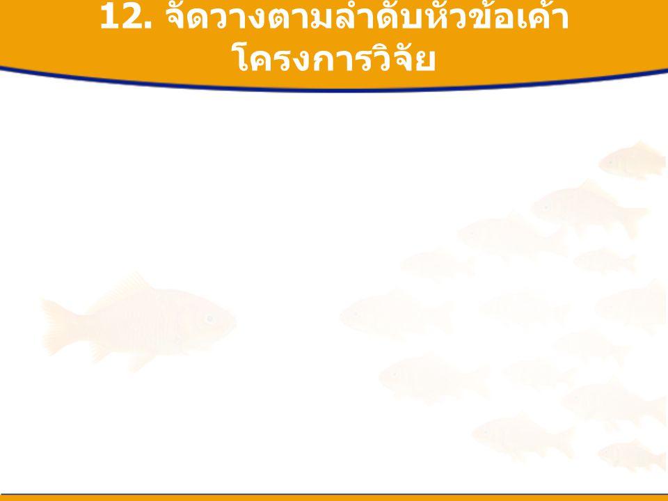 12. จัดวางตามลำดับหัวข้อเค้าโครงการวิจัย