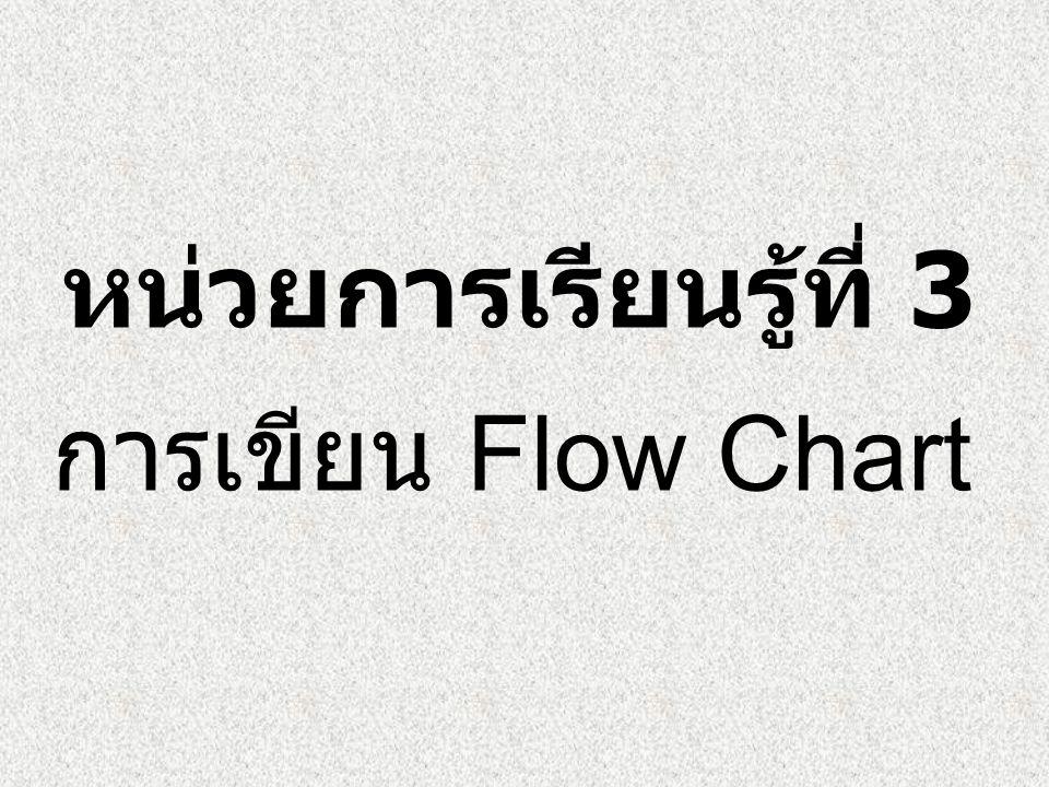 หน่วยการเรียนรู้ที่ 3 การเขียน Flow Chart