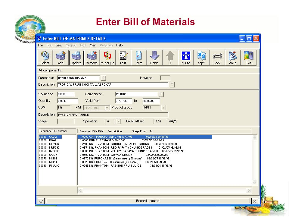Enter Bill of Materials