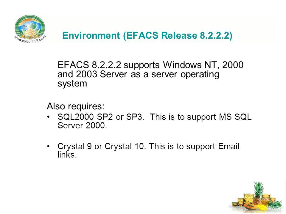 Environment (EFACS Release 8.2.2.2)