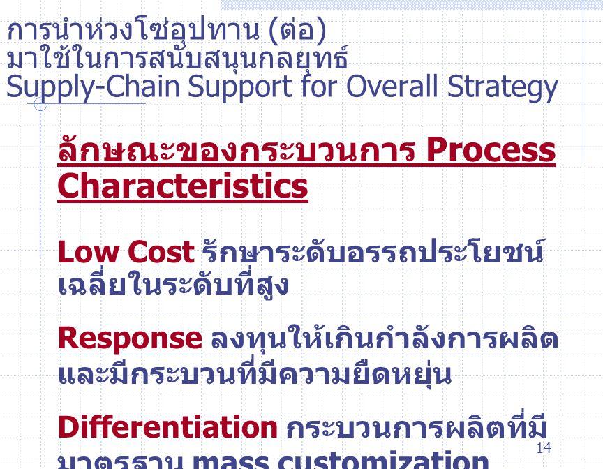 ลักษณะของกระบวนการ Process Characteristics