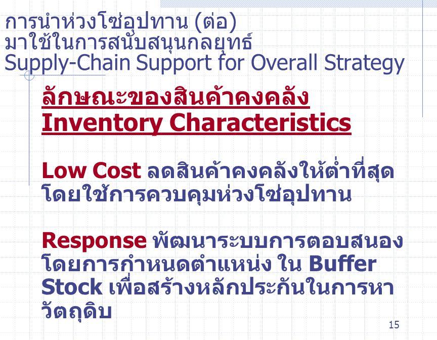 ลักษณะของสินค้าคงคลัง Inventory Characteristics