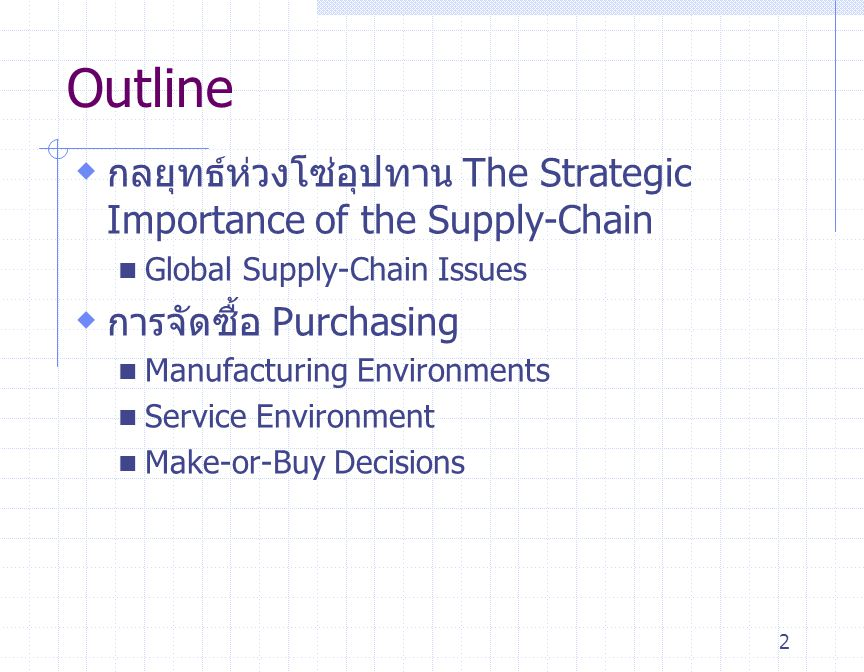 Outline กลยุทธ์ห่วงโซ่อุปทาน The Strategic Importance of the Supply-Chain. Global Supply-Chain Issues.