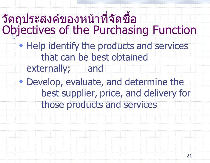 วัตถุประสงค์ของหน้าที่จัดซื้อ Objectives of the Purchasing Function