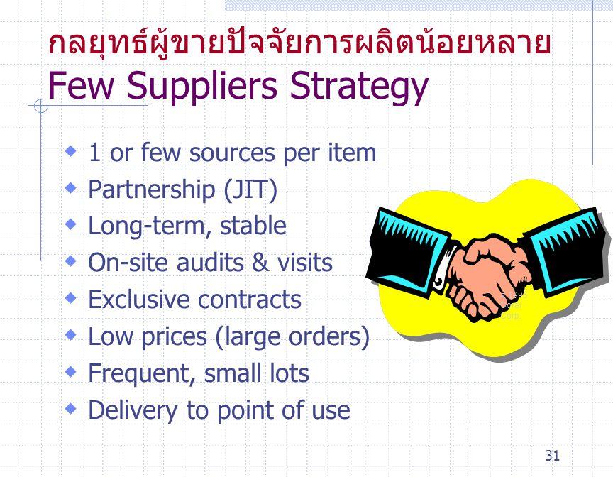 กลยุทธ์ผู้ขายปัจจัยการผลิตน้อยหลาย Few Suppliers Strategy