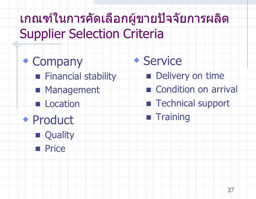 เกณฑ์ในการคัดเลือกผู้ขายปัจจัยการผลิต Supplier Selection Criteria