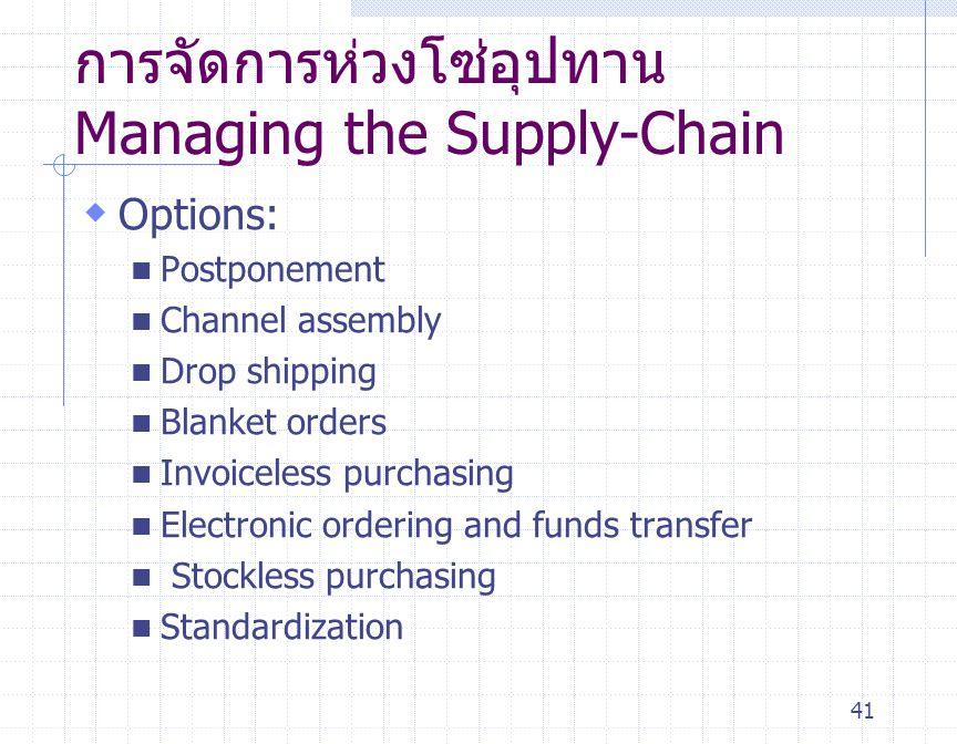 การจัดการห่วงโซ่อุปทาน Managing the Supply-Chain