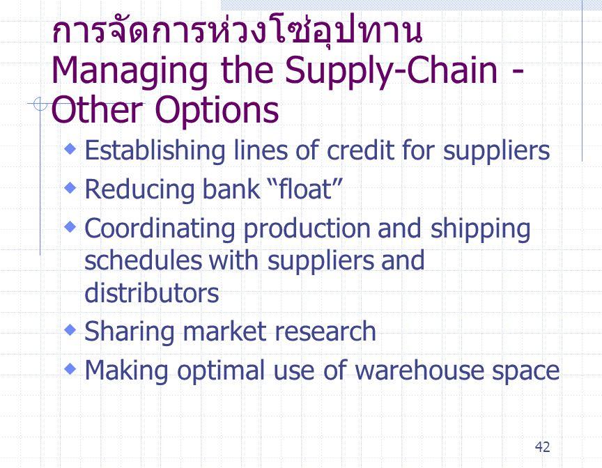 การจัดการห่วงโซ่อุปทาน Managing the Supply-Chain - Other Options