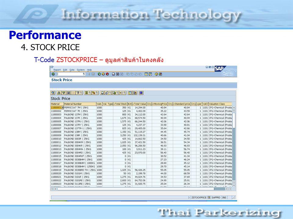 Performance 4. STOCK PRICE T-Code ZSTOCKPRICE – ดูมูลค่าสินค้าในคงคลัง