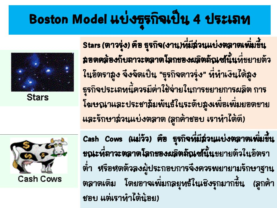Boston Model แบ่งธุรกิจเป็น 4 ประเภท