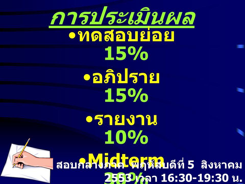 การประเมินผล ทดสอบย่อย 15% อภิปราย 15% รายงาน 10% Midterm 30%