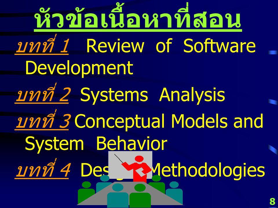 หัวข้อเนื้อหาที่สอน บทที่ 1 Review of Software Development