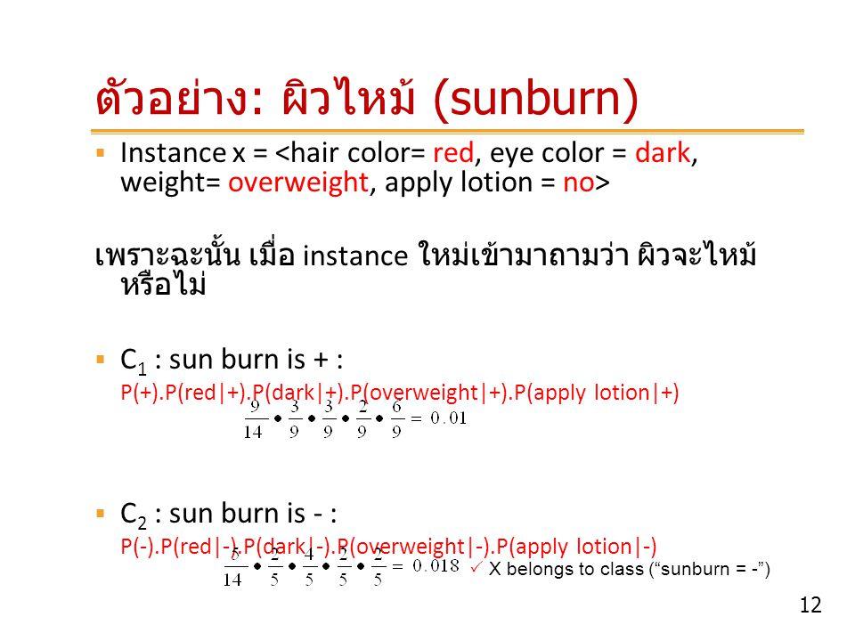 ตัวอย่าง: ผิวไหม้ (sunburn)