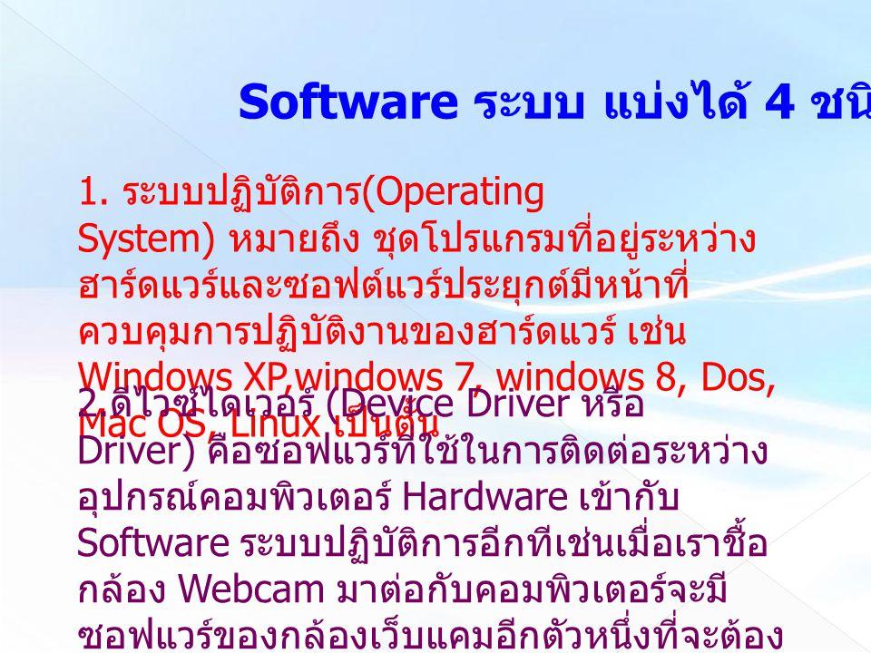 Software ระบบ แบ่งได้ 4 ชนิด