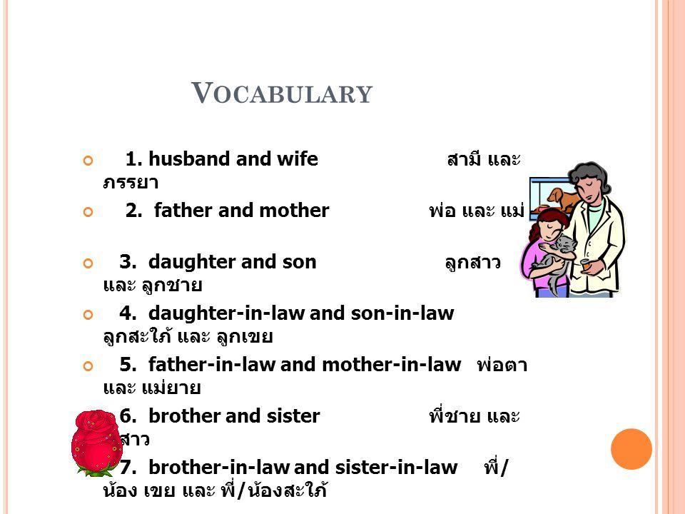 Vocabulary 1. husband and wife สามี และ ภรรยา