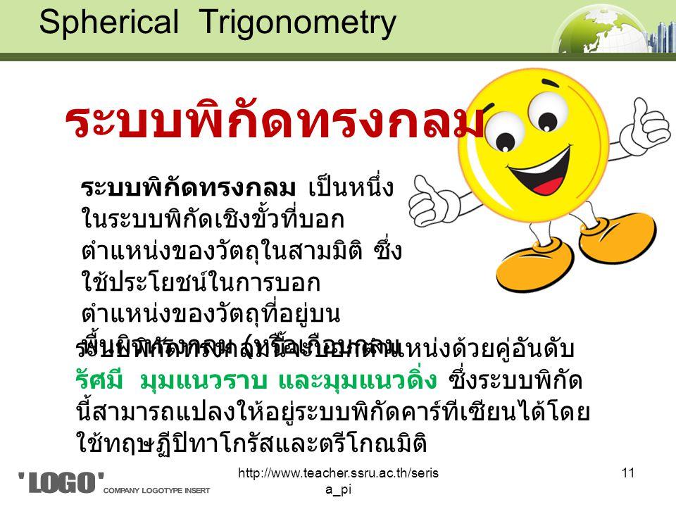ระบบพิกัดทรงกลม Spherical Trigonometry