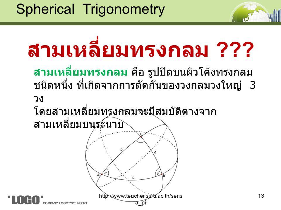 สามเหลี่ยมทรงกลม Spherical Trigonometry