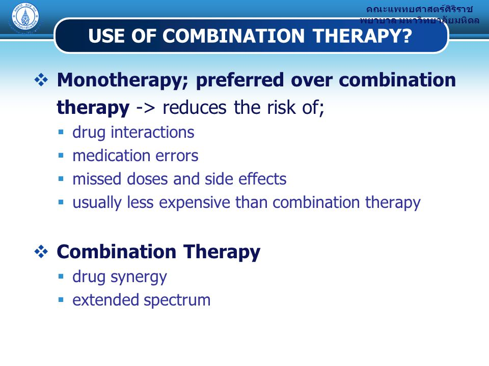 USE OF COMBINATION THERAPY