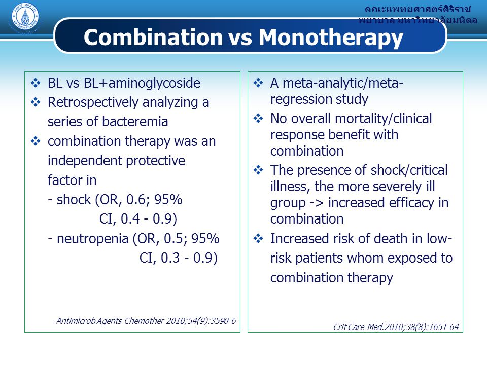 Combination vs Monotherapy