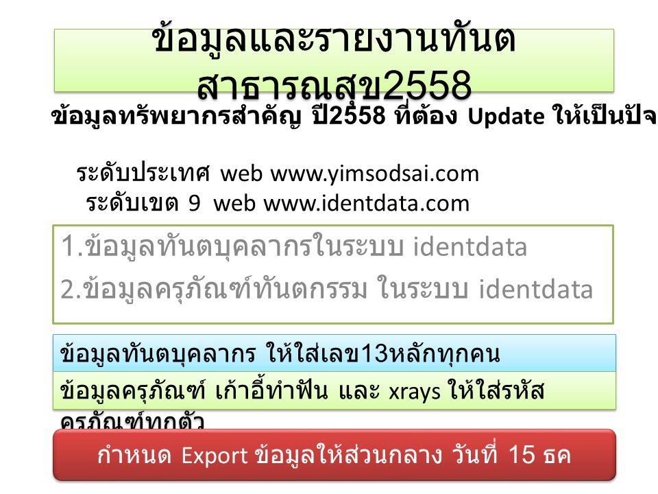 ข้อมูลและรายงานทันตสาธารณสุข2558