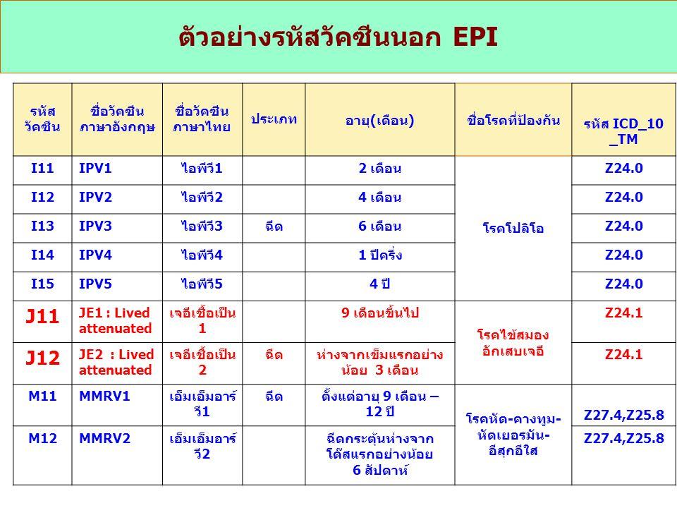 ตัวอย่างรหัสวัคซีนนอก EPI
