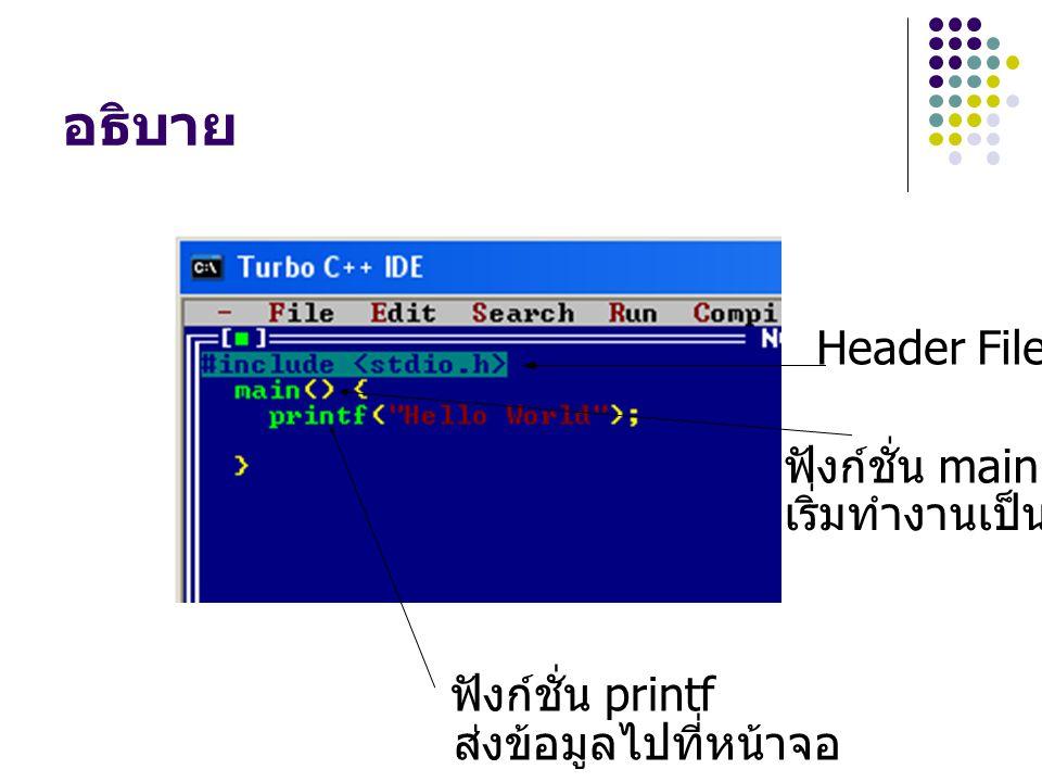 อธิบาย Header File ฟังก์ชั่น main เริ่มทำงานเป็นที่แรก