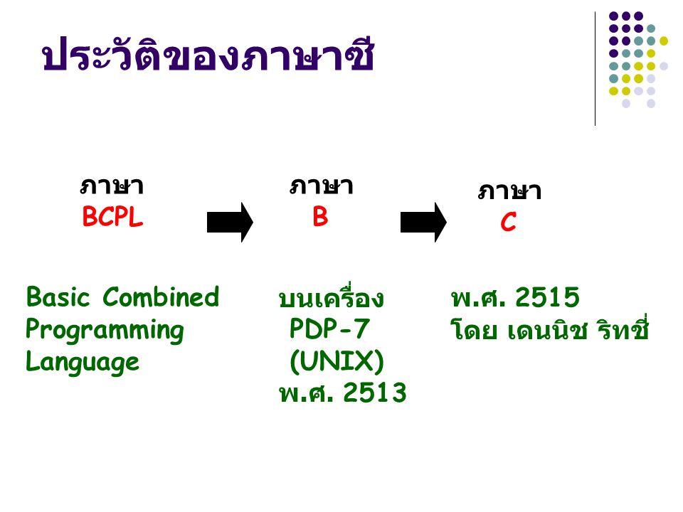 ประวัติของภาษาซี ภาษา BCPL ภาษา B ภาษา C Basic Combined Programming