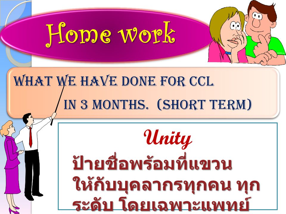 Home work What we have done for CCL. in 3 months.