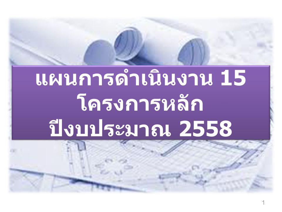 แผนการดำเนินงาน 15 โครงการหลัก ปีงบประมาณ 2558