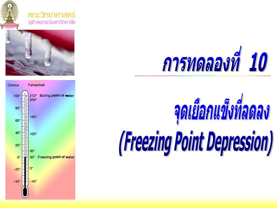 การทดลองที่ 10 จุดเยือกแข็งที่ลดลง (Freezing Point Depression)