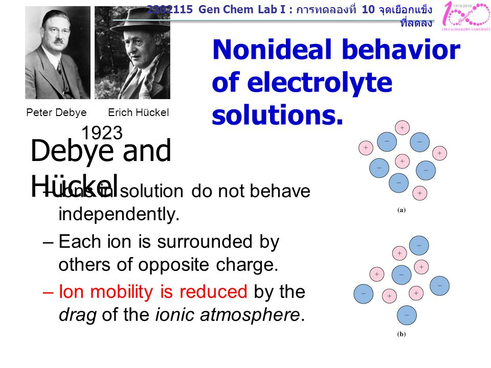 Debye and Hückel Nonideal behavior of electrolyte solutions. 1923